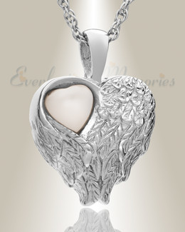 14k White Gold Heart of Love Ash Pendant