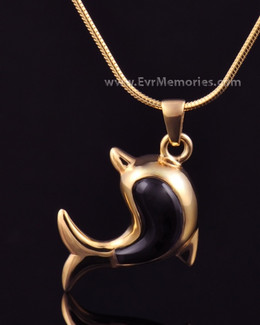 Gold Plated Onyx Dolphin Jewelry Urn