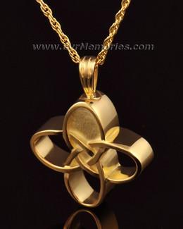 14k Gold Celtic Cherished Cross Urn Pendant