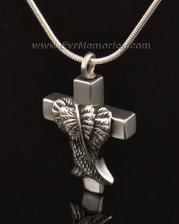 14k White Gold Angelic Cross Cremation Charm