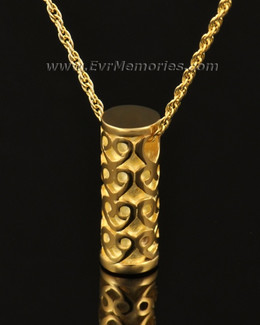 14k Gold Lovely Cylinder Memorial Jewelry