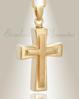 14k Gold Double Cross Cremation Charm