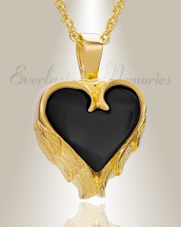 Gold Plated Onyx Innocent Heart Ash Pendant