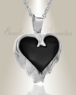 Sterling Silver Onyx Innocent Heart Cremation Pendant