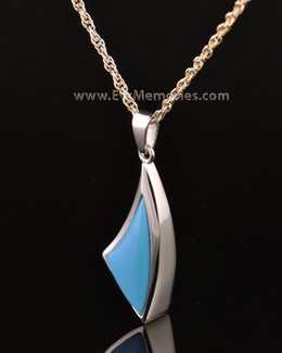 14k White Gold Turquoise Sail Away Funeral Jewelry