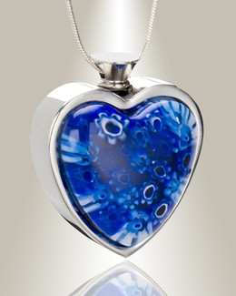 Ocean Blue Heart Cremation Locket