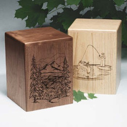 Laser-Etched Lakeside Cremation Urns - Evening Reflections - Oak