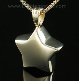 Gold Vermeil Small Star Cremation Urn Keepsake