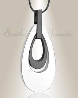 Silver and Black Drop of Hope Cremation Jewelry