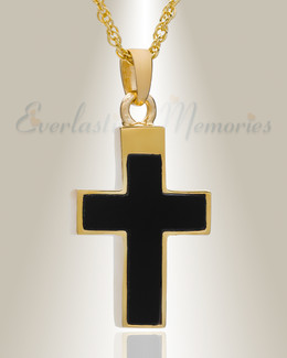 14K Gold Plated Cross with Onyx Stone Funeral Jewelry
