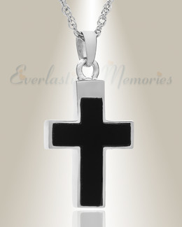 14K White Gold Cross with Onyx Stone Urn Keepsake