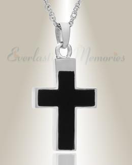 14K White Gold Cross with Onyx Stone Urn Keepsake