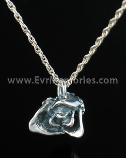 Silver Rose Bud Cremation Memorial Locket