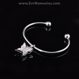 Sterling Silver Pearly Butterfly Cremation Bracelet