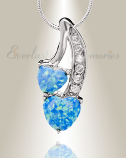 Blue Opal Calming Hearts Memorial Jewelry
