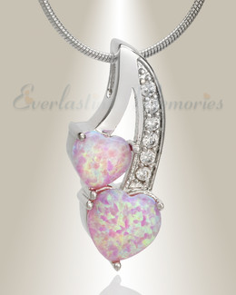 Pink Opal Calming Hearts Cremation Jewelry