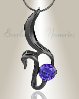 Black Simple Adoration Cremation Jewelry
