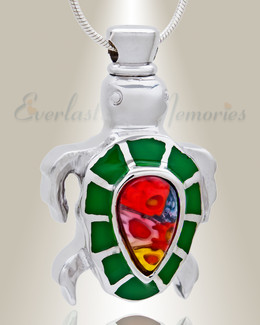 Green Talented Turtle Cremation Jewelry