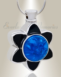 Blue Flowery Fascination Cremation Jewelry