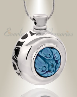 Wild Blue Yonder Round Cremation Jewelry