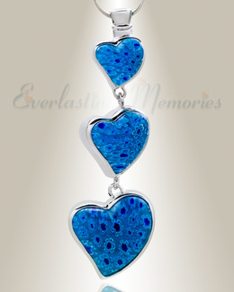 Blue Statuesque Hearts Cremation Jewelry