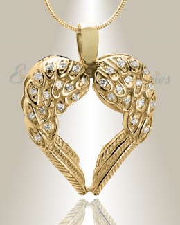 Gold Plated Wings of Hope Cremation Jewelry
