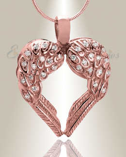 Rose Gold Wings of Hope Cremation Jewelry
