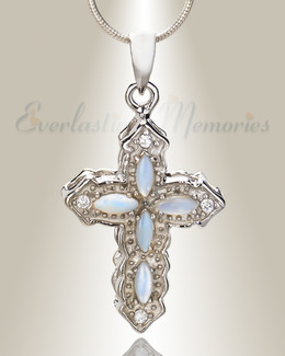 Mother of Pearl Reverent Cross Memorial Jewelry