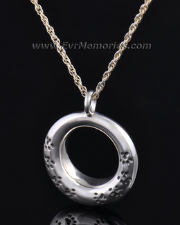 Silver Imprinted Devotion Round Jewelry Pendant