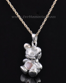 Silver Tickle Me Pink Bear Jewelry Pendant