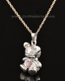 14k White Gold Tickle Me Pink Bear Jewelry Pendant