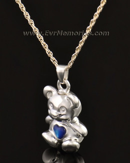 14k White Gold Baby Blue Bear Jewelry Pendant
