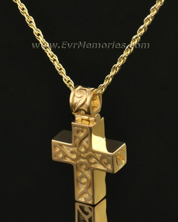 14k Gold Carved Cross Urn Jewelry