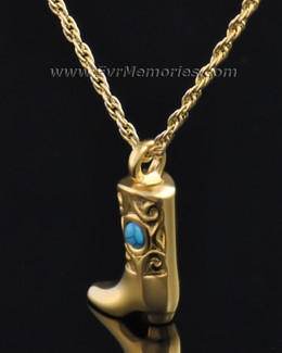 Gold Plated Western Boot Urn Jewelry
