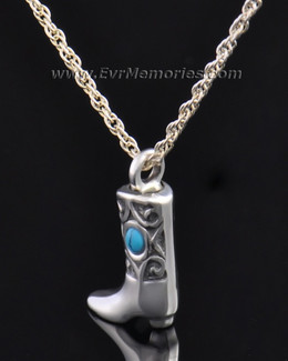 Silver Western Boot Jewelry Pendant