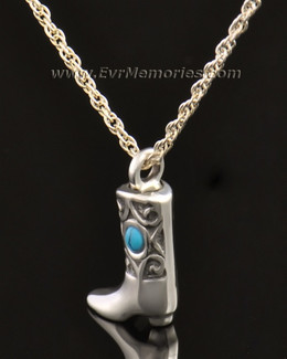 14k White Gold Western Boot Jewelry Pendant