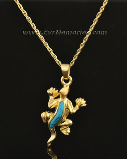 14k Gold Gallant Gecko Memorial Pendant