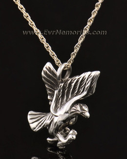 14k White Gold Stately Eagle Jewelry Pendant
