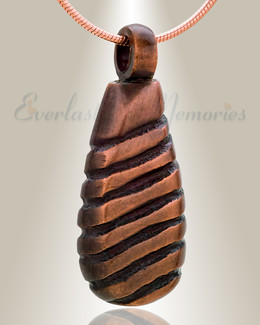 Copper Grooved Teardrop Memorial Pendant