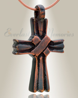 Copper Cloaked Cross Memorial Pendant