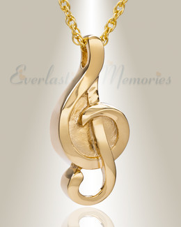 Gold Plated Harmonious Music Note Memorial Locket