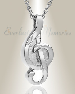 14k White Gold Harmonious Music Note Memorial Locket