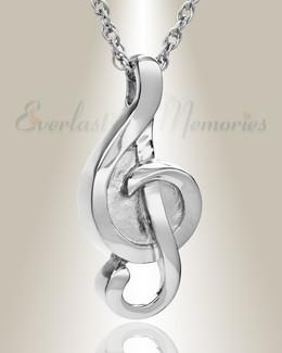 14k White Gold Harmonious Music Note Memorial Locket