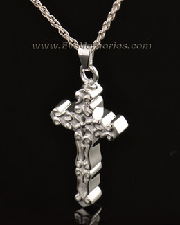 14k White Gold Delicate Cross Memorial Locket
