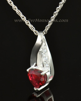 14k White Gold Flames of Love Memorial Locket
