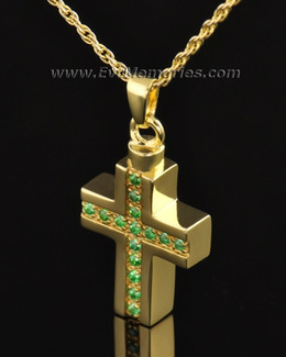 Gold Plated Trusting Cross Memorial Locket