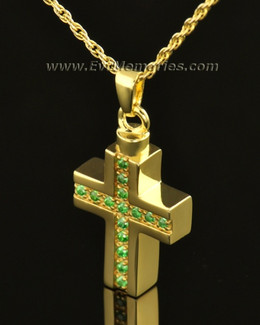 14k Gold Trusting Cross Memorial Locket