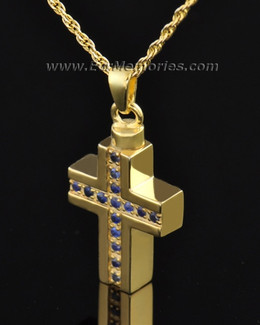 Gold Plated Indigo Cross Memorial Locket