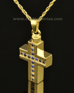 14k Gold Indigo Cross Memorial Locket