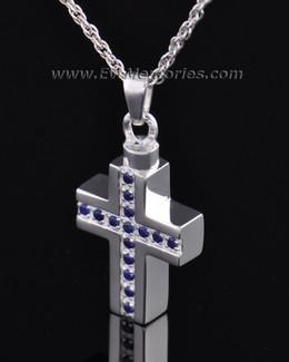 Sterling Silver Indigo Cross Memorial Locket